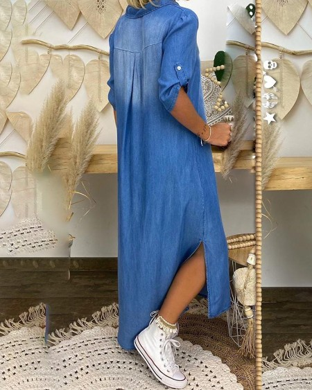 Half Sleeve Slit Casual Dress