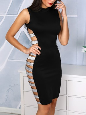 Glitter Ladder Cut Out Sleeveless Party Dress