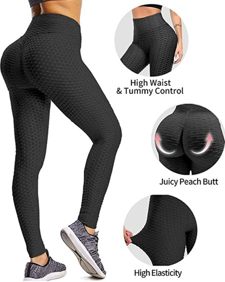 High Waisted Bubble Textured Yoga Pants Workout Butt Lifting Scrunch Booty Leggings