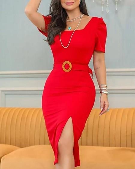 Plain Short Puff Sleeve Slit Dress With Belt