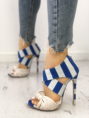Striped Crisscross Knotted Thin Heeled Sandals