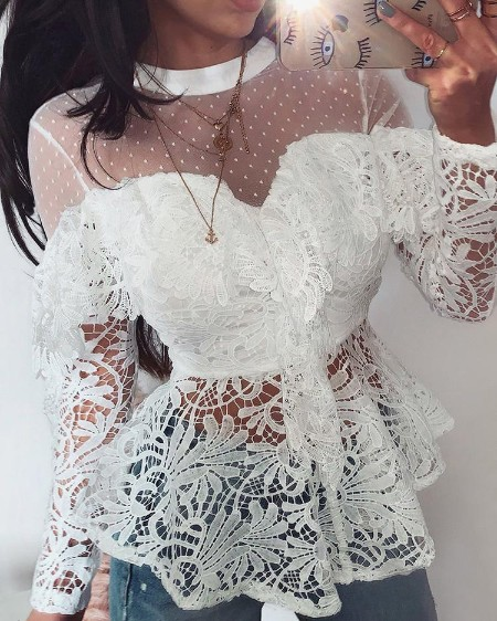 Sheer Mesh Floral Lace Ruffles Blouse
