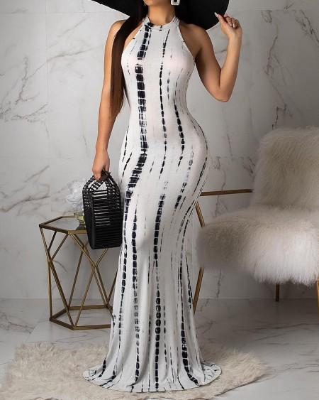 Tie Dye Print Cutout Back Maxi Dress