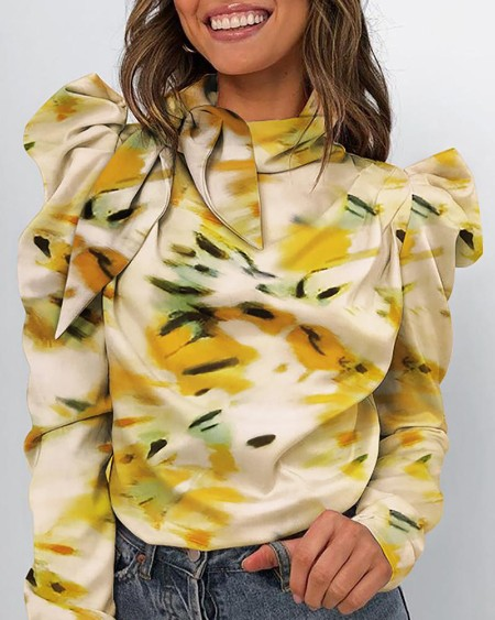 Abstract Print Puff Sleeve Casual Blouse