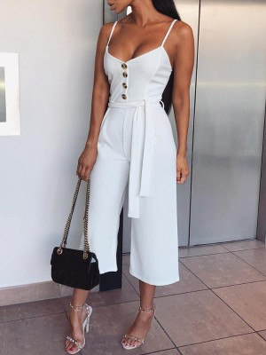 Solid Button Design Belted Spaghetti Strap Jumpsuit
