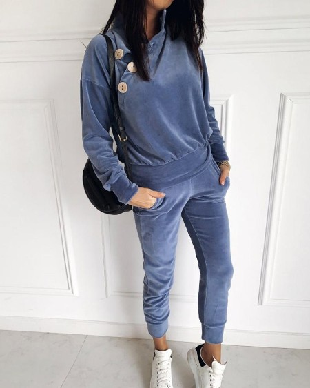 Velvet Buttoned High Neck Casual Top & Pant Sets
