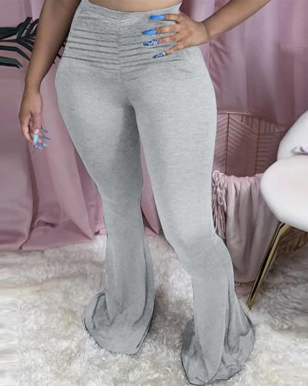 High Waist Solid Bootcut Pants