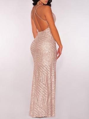 Sequins Deep V Backless Slit Maxi Dress