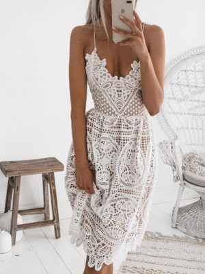 Alluring Backless Crochet Lace Hollow Out Slip Dress