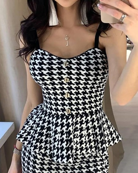 Houndstooth Peplum Buttoned Bodycon Dress