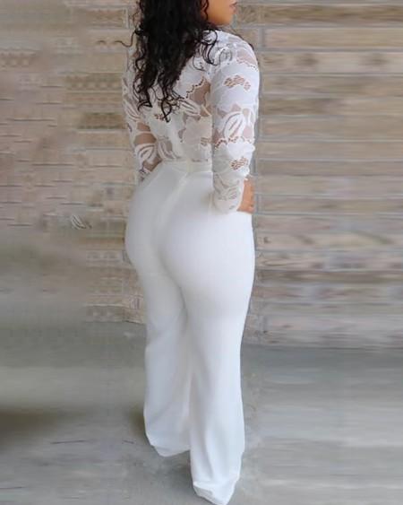 Plunge Lace Bodice Insert Jumpsuit