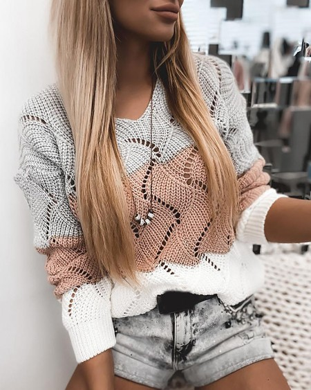 Colorblock Hollow Out Casual Knit Sweater