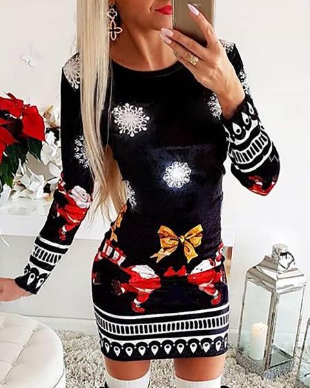 Christmas Mixed Print Long Sleeve Dress