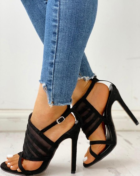 Crisscross Strap Mesh Thin Heeled Sandals