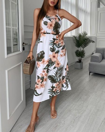 Halter Floral Tropical Print Maxi Dress