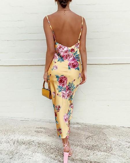 Floral Print Spaghetti Strap Satin Dress