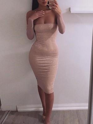 Shiny Off Shoulder Long Sleeve Dress