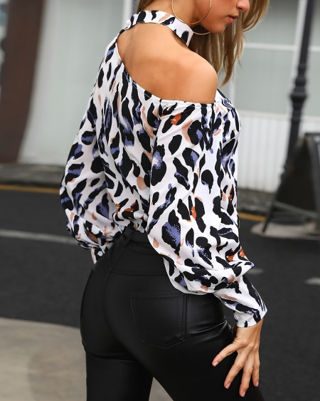 Cutout One Shoulder Leopard Print Blouse