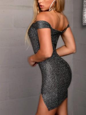 Glitter Off Shoulder Slit Bodycon Dress