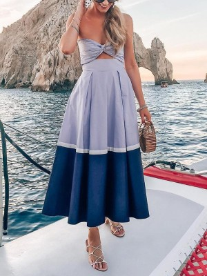 Color Block Twist Front Pleated Dress