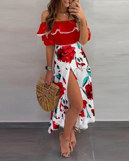 Off Shoulder Floral Print Scallop Trim High Slit Dress