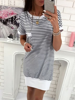Splicing Contrast Color Backless Pinstriped Casual Dress