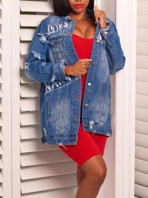 Fashion Snap Button Frayed Denim Coat