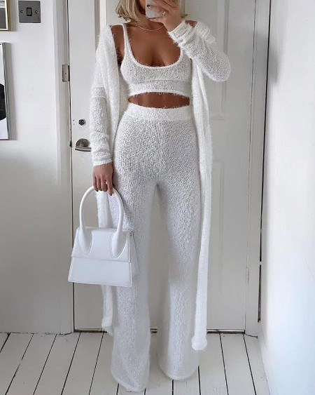 Solid Fluffy Long Sleeve 3PCS Sets