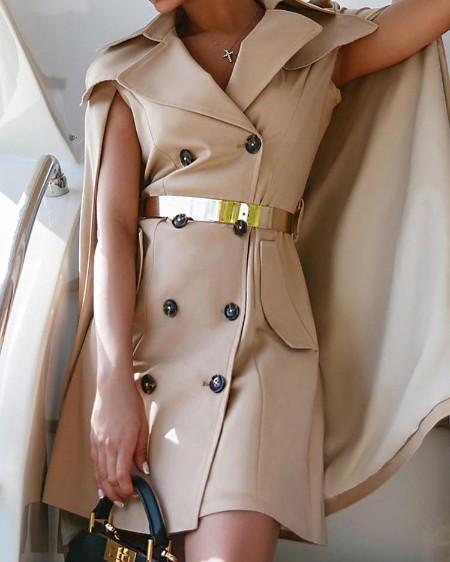 Double Breasted Cape Design Blazer Dress