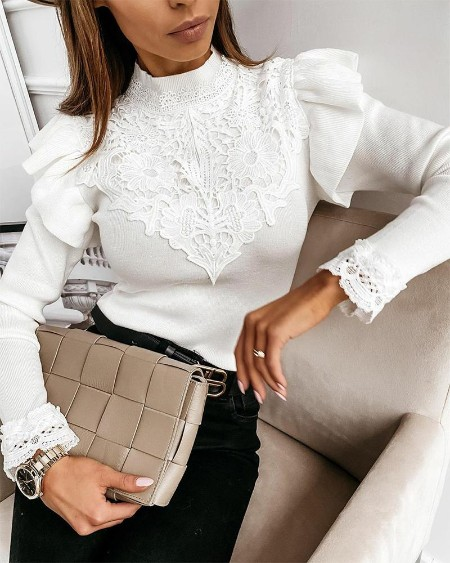 Solid Bubble Sleeve Lace Blouse
