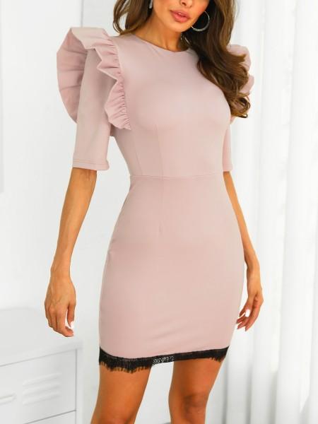 Ruffles Shoulder Eyelash Lace Bodycon Dress