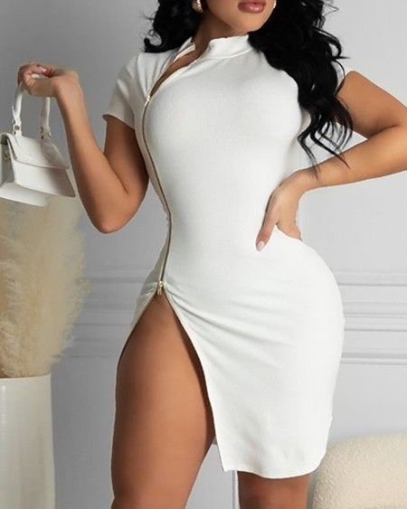 Zipper Design High Slit Short Sleeve Bodycon Dress
