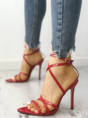 Solid Strappy Peep Toe Buckled Thin Heeled Sandals