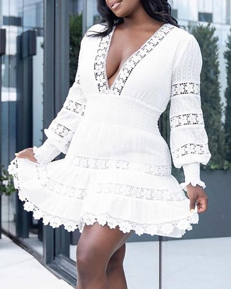 Solid Hollow Out Lace Lantern Sleeve Dress