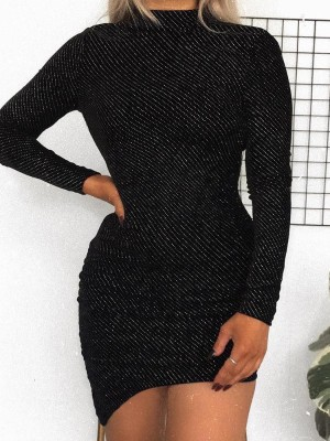 Shiny Long Sleeve Irregular Bodycon Dress