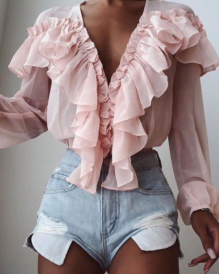 Solid Color V-Neck Ruffle Trim Blouse