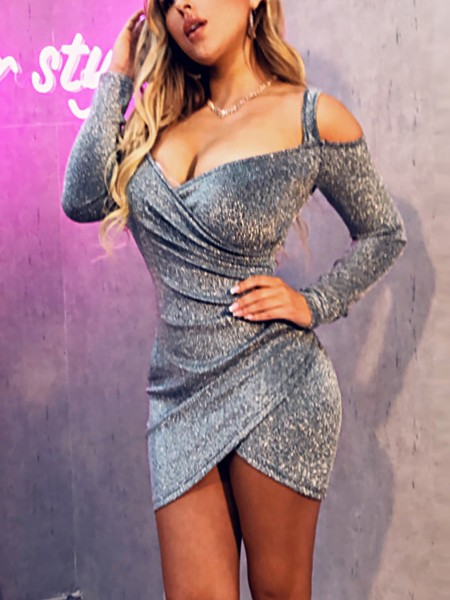 Cold Shoulder Surplice Wrap Glitter Dress