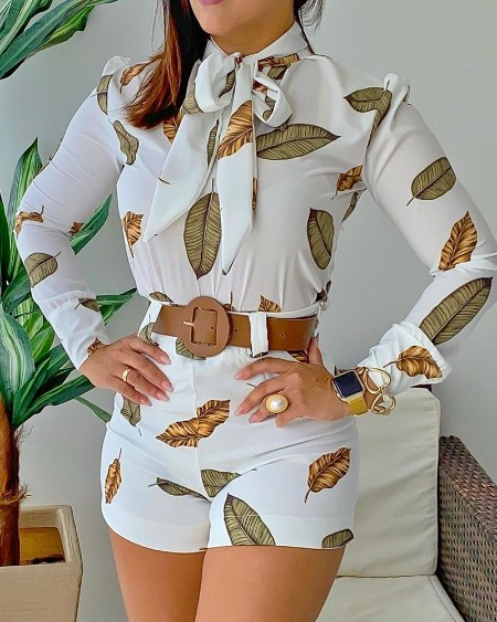 Leaf Print Puff Sleeve Top & Shorts Set