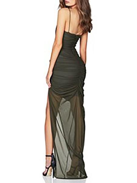 Spaghetti Strap Mesh Ruched Slit Dress