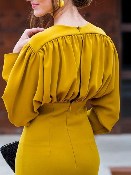 Ruched Design Batwing Sleeve Midi Dress