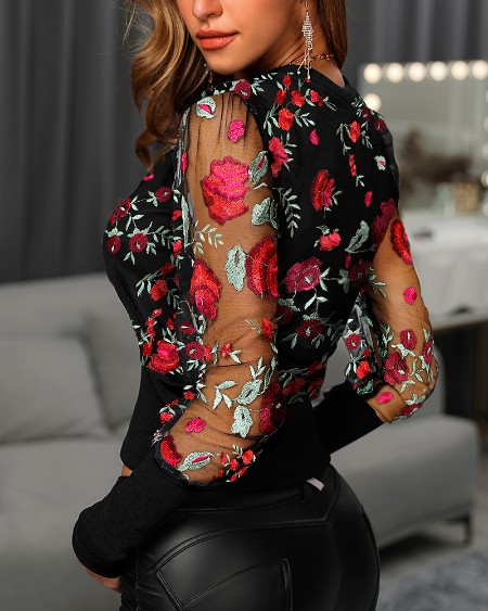 Floral Embroidery Patchwork Mesh Blouse