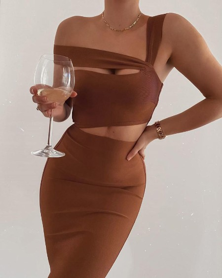 Plian One Shoulder Cutout Dress