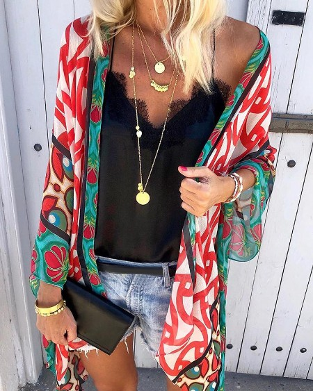 Colorful Print Open Front Cover Up