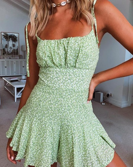 Floral Frill Hem Cami  Dress