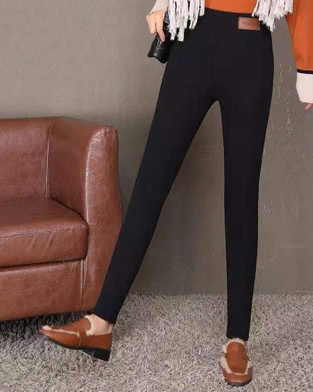 High Waist Plain Winter Lined Leggings