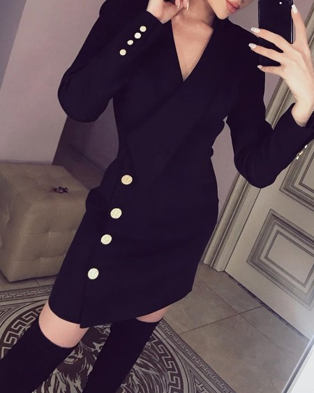 Long Sleeve Button Detail Blazer Dress