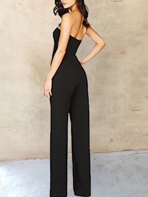 Sweetheart Neck Strapless Wide Leg Jumpsuits