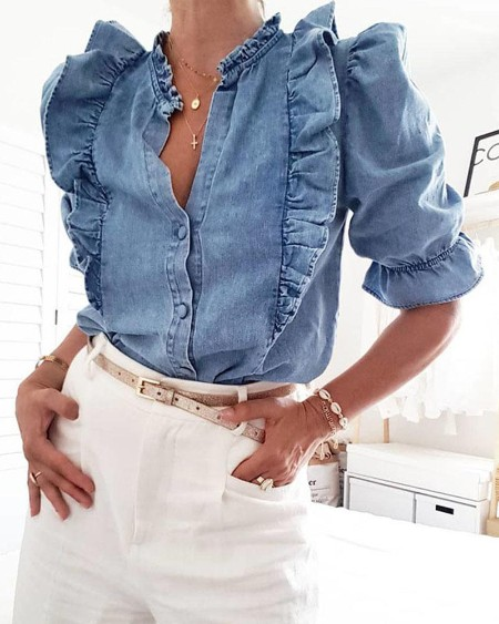 Solid Color Ruffles Puffed Sleeve Blouse