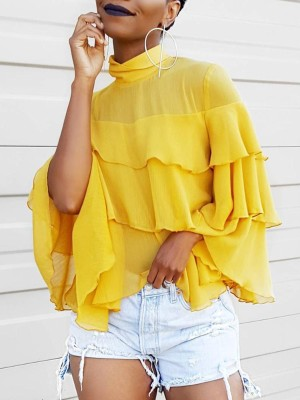 Flared Sleeve Layered Ruffles Trim Casual Blouse
