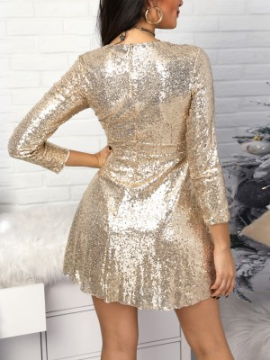 Surplice A-Line Pleated Sequin Party Dress